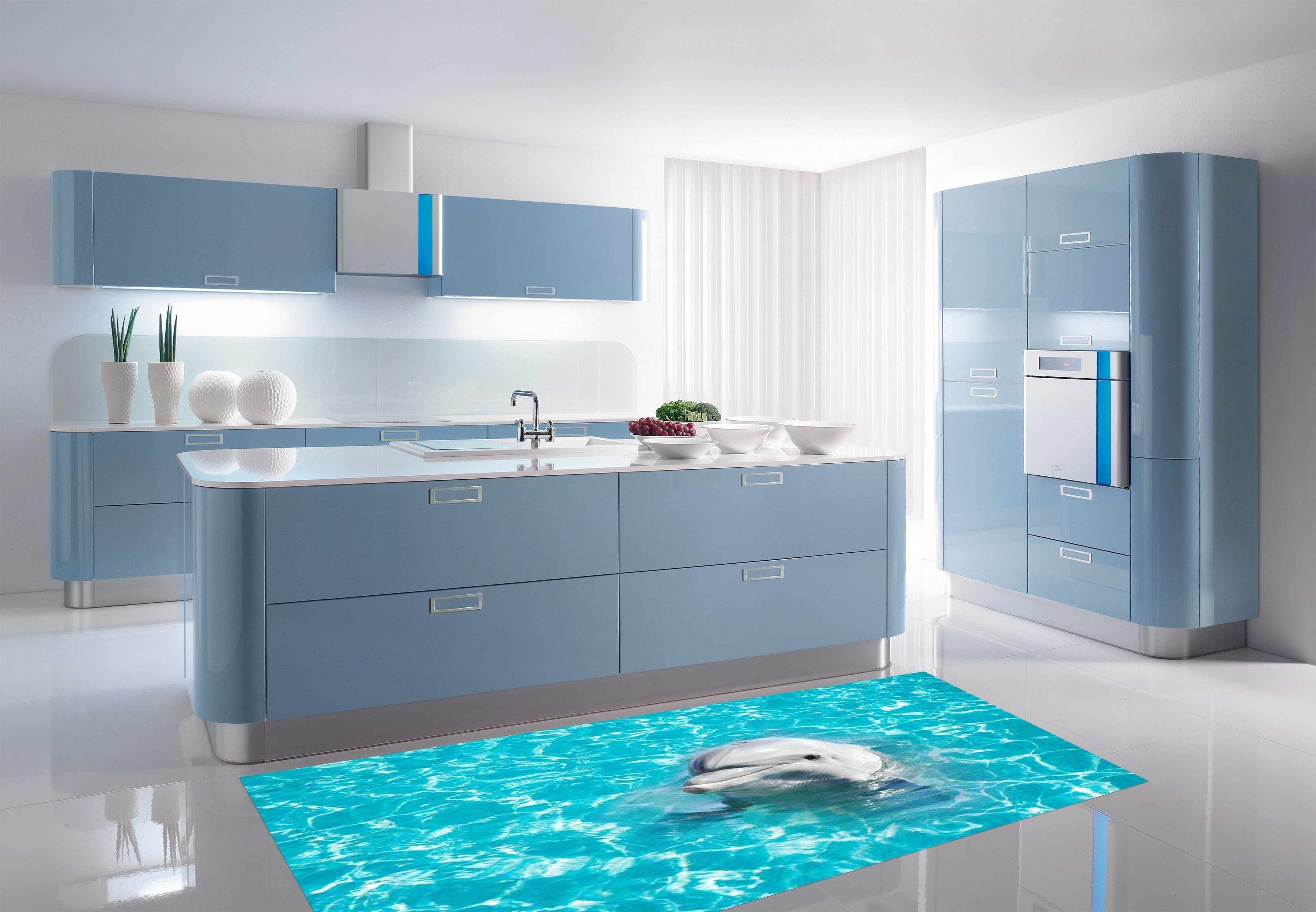 3D Blue Sea Dolphin 031 Kitchen Mat Floor Mural | AJ Wallpaper