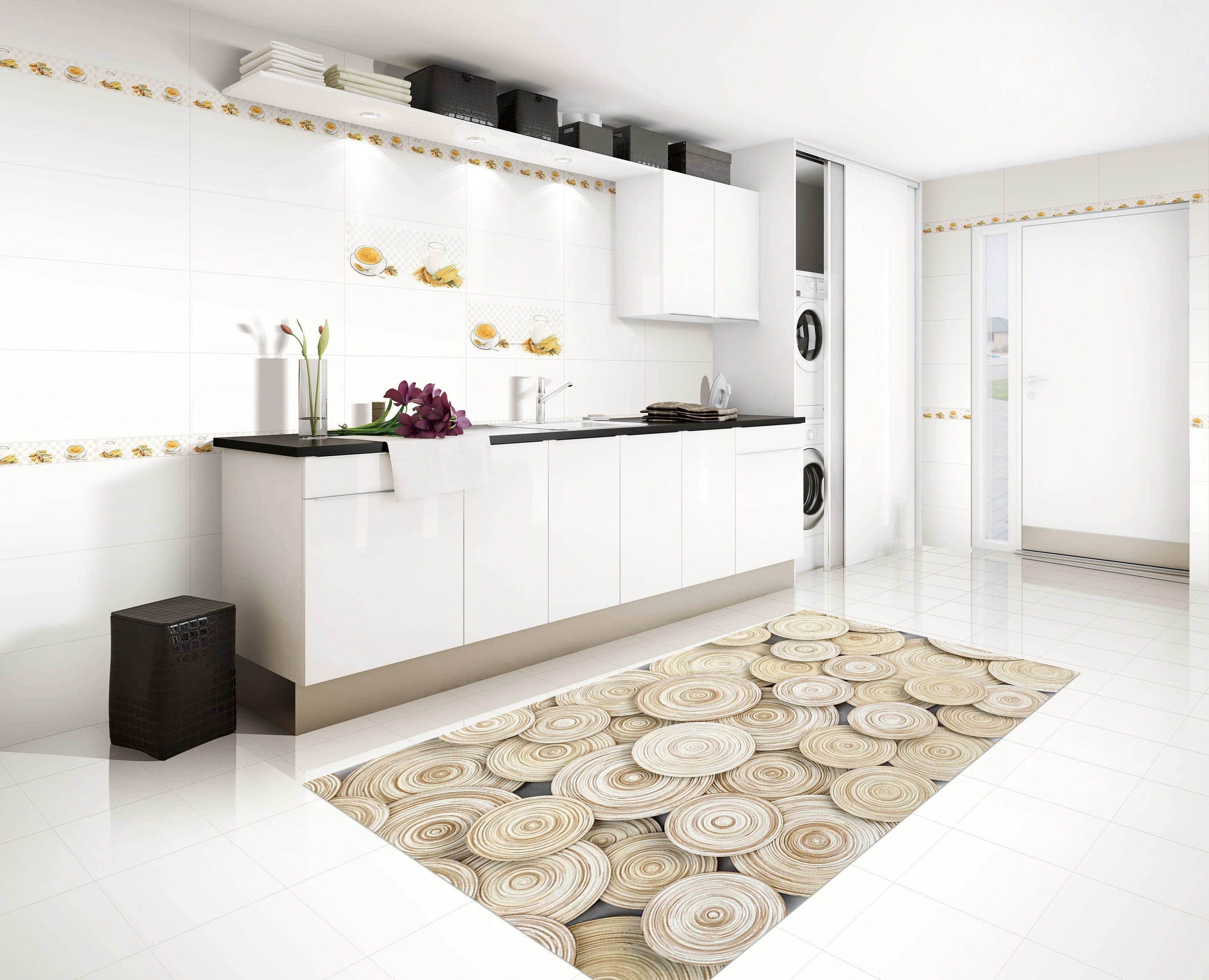3D Circles Pattern 156 Kitchen Mat Floor Mural Wallpaper AJ Wallpaper