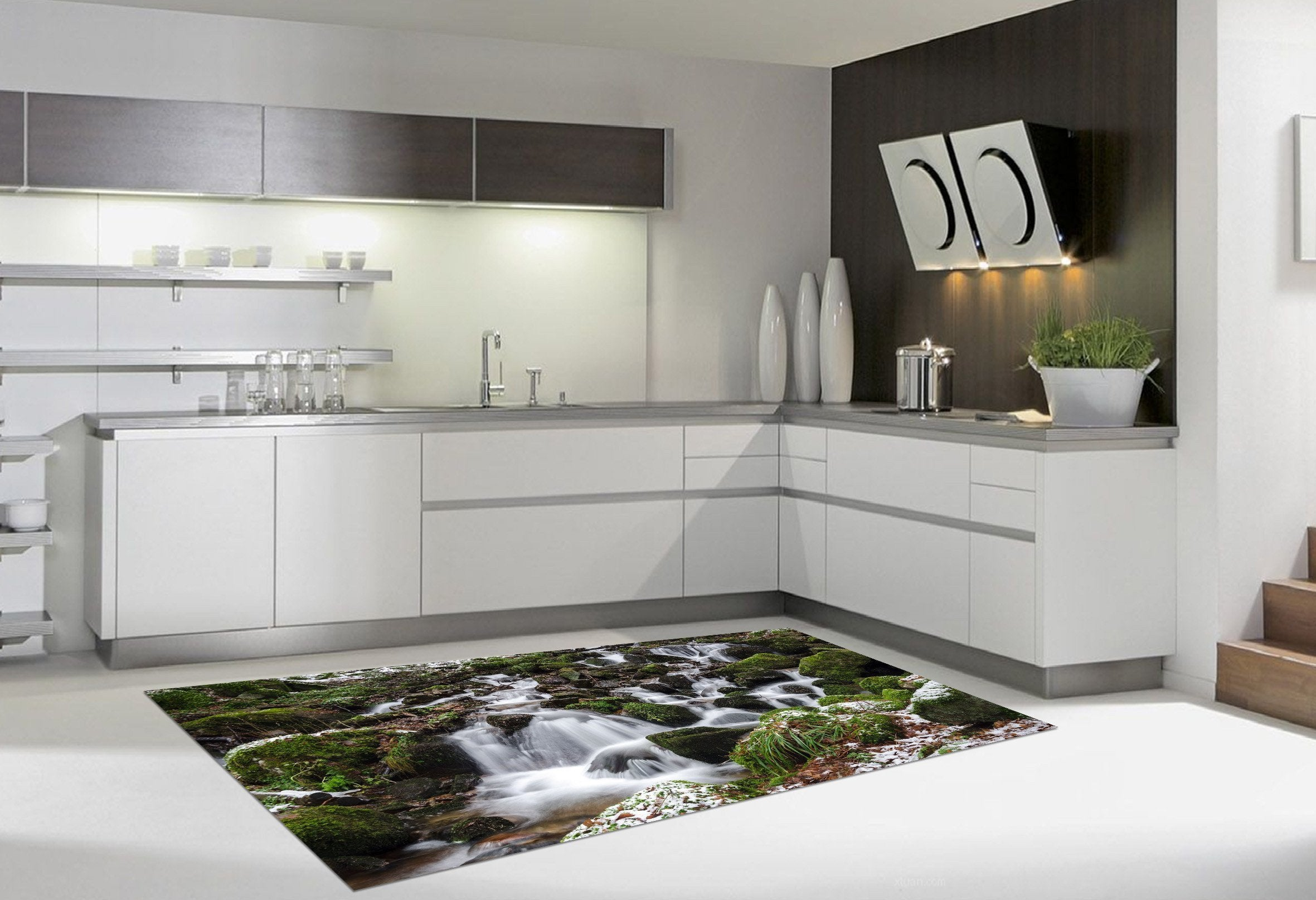 3D Stony Creeks Kitchen Mat Floor Mural Wallpaper AJ Wallpaper