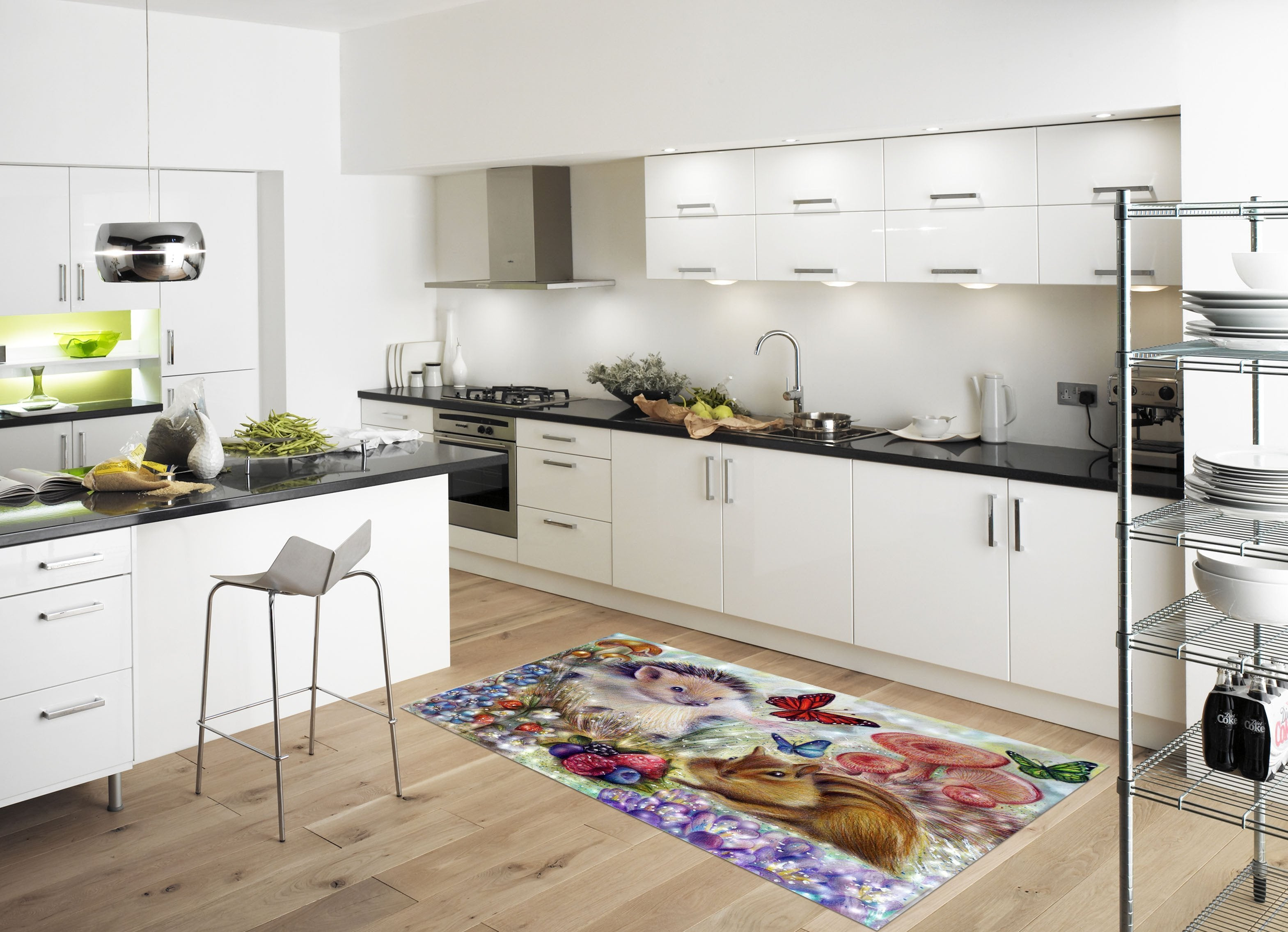 3D Hedgehog And Rabbit 628 Kitchen Mat Floor Mural Wallpaper AJ Wallpaper