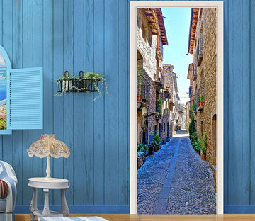 3D alley street building door mural Wallpaper AJ Wallpaper