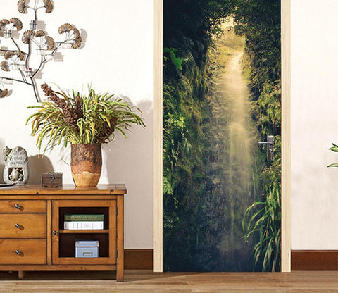 3D a little light in the green door mural Wallpaper AJ Wallpaper