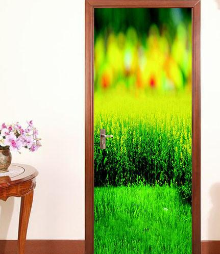 3D field green painting door mural Wallpaper AJ Wallpaper