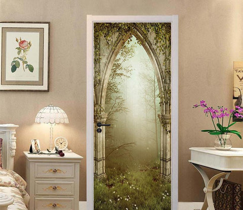 3D forest stone arch door mural