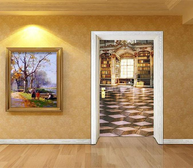 3D deluxe living room door mural Wallpaper AJ Wallpaper