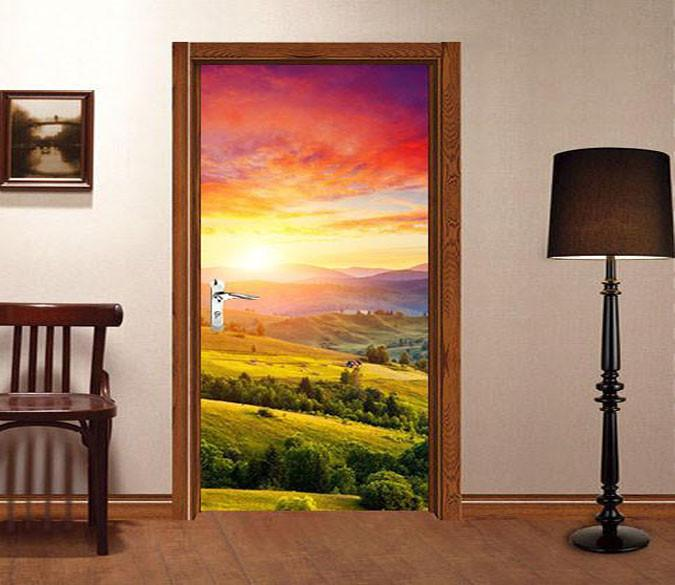 3D mountains sunset glow door mural Wallpaper AJ Wallpaper