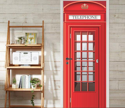 3D red telephone booth door mural Wallpaper AJ Wallpaper