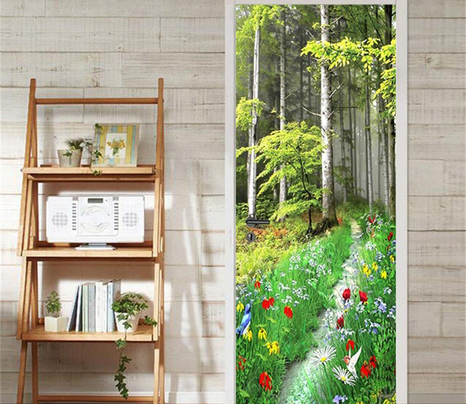 3D bright flowers and trees door mural