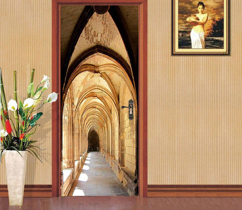 3D vaulting shaft clear day steepletop door mural Wallpaper AJ Wallpaper