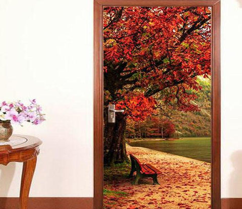 3D natural landscape door mural Wallpaper AJ Wallpaper
