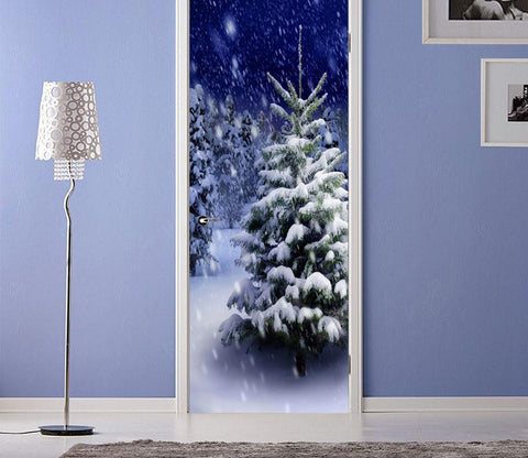 3D christmas tree snowflake white  door mural