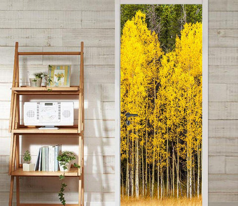 3D autumn tree meadow door mural Wallpaper AJ Wallpaper
