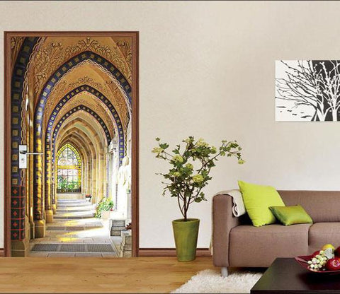 3D pointed arch corridor door mural Wallpaper AJ Wallpaper