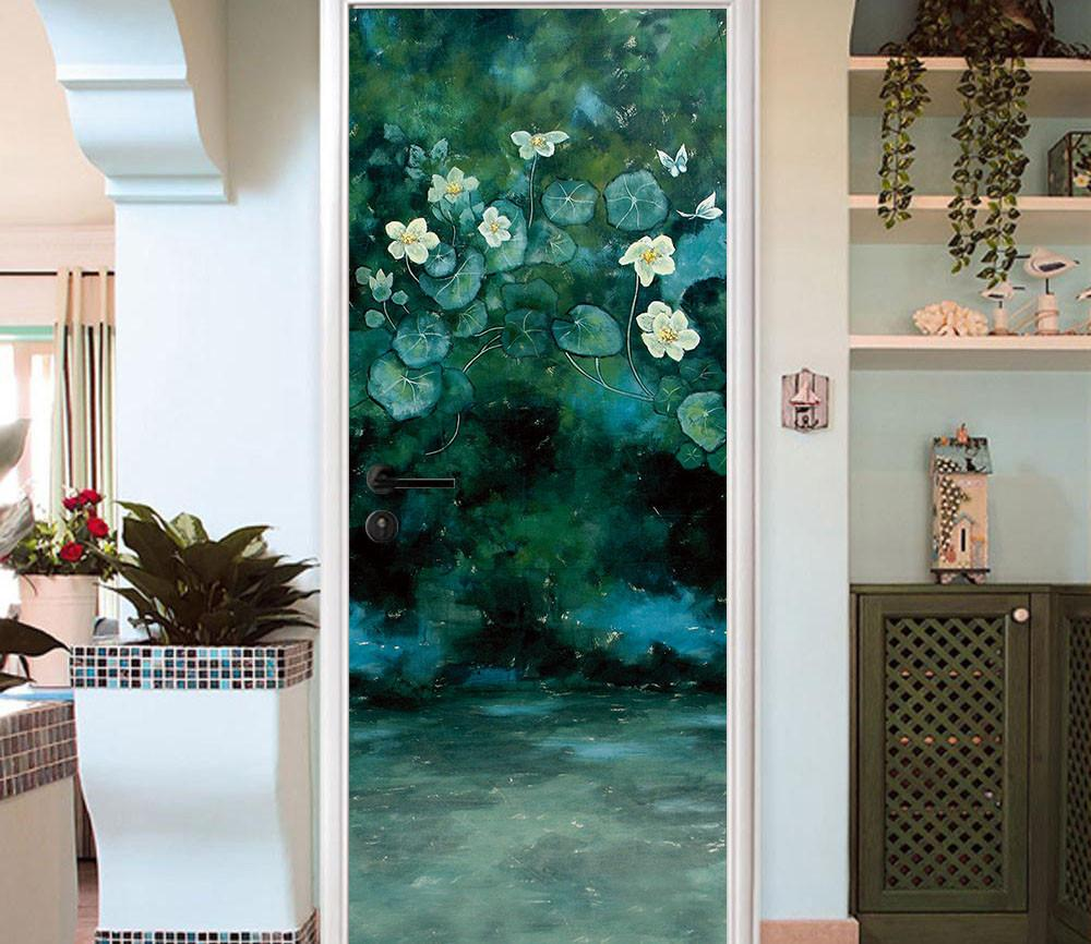 3D white flowers green leaves painting door mural Wallpaper AJ Wallpaper