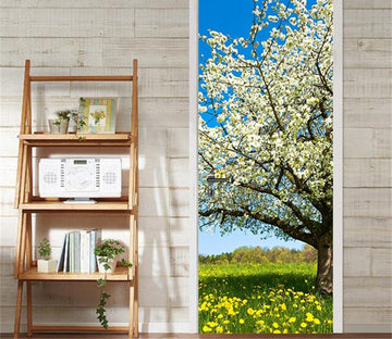 3D flowering tree door mural Wallpaper AJ Wallpaper