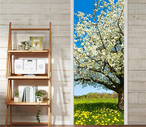 3D a flowering tree door mural Wallpaper AJ Wallpaper