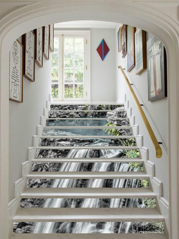 3D Beautiful Waterfall 30 Stair Risers