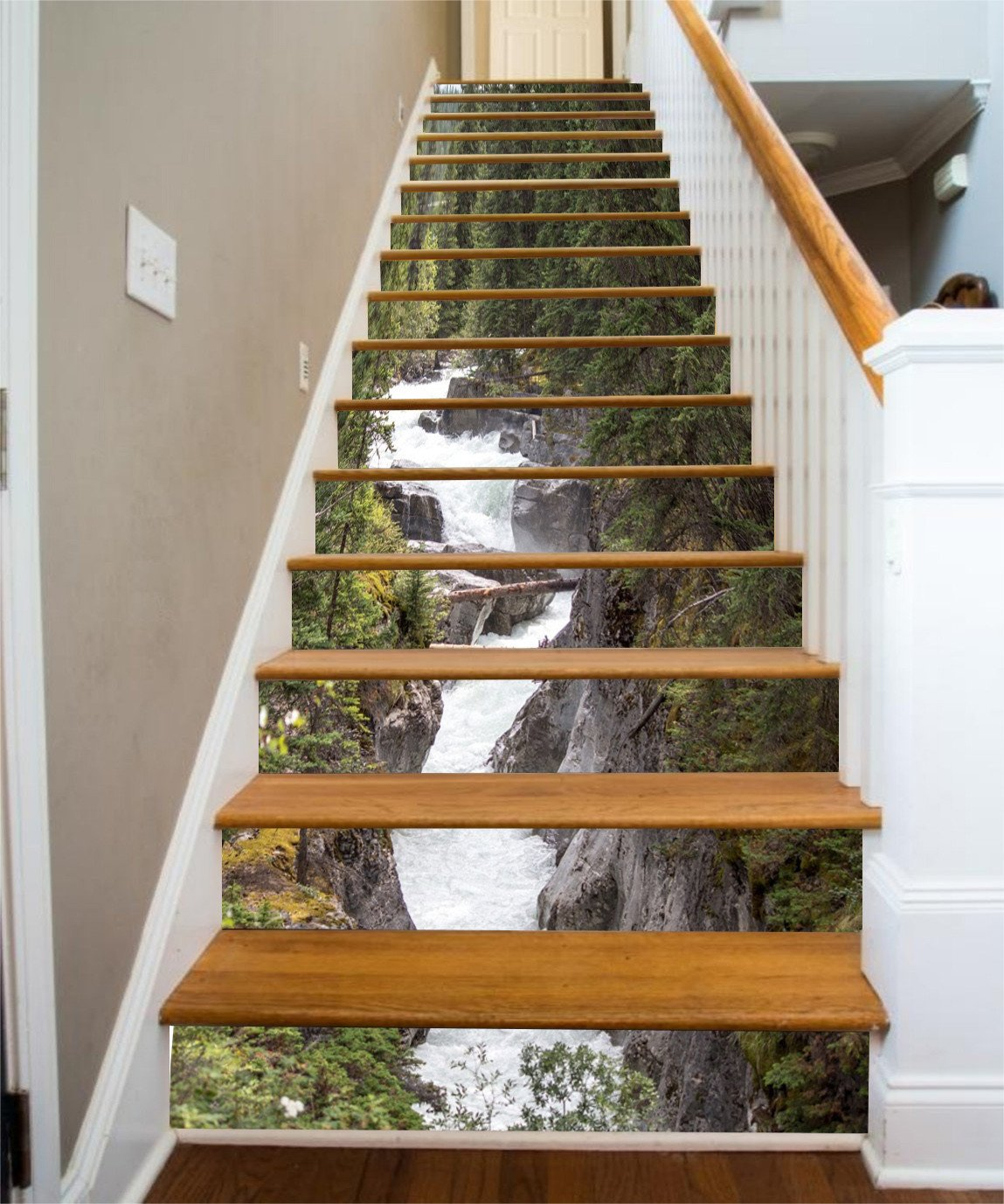 3D Maligne River Stair Risers Wallpaper AJ Wallpaper
