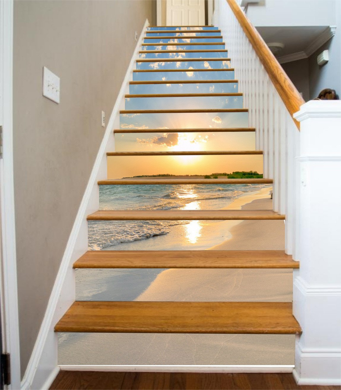 3D Beach Sunset 321 Stair Risers Wallpaper AJ Wallpaper