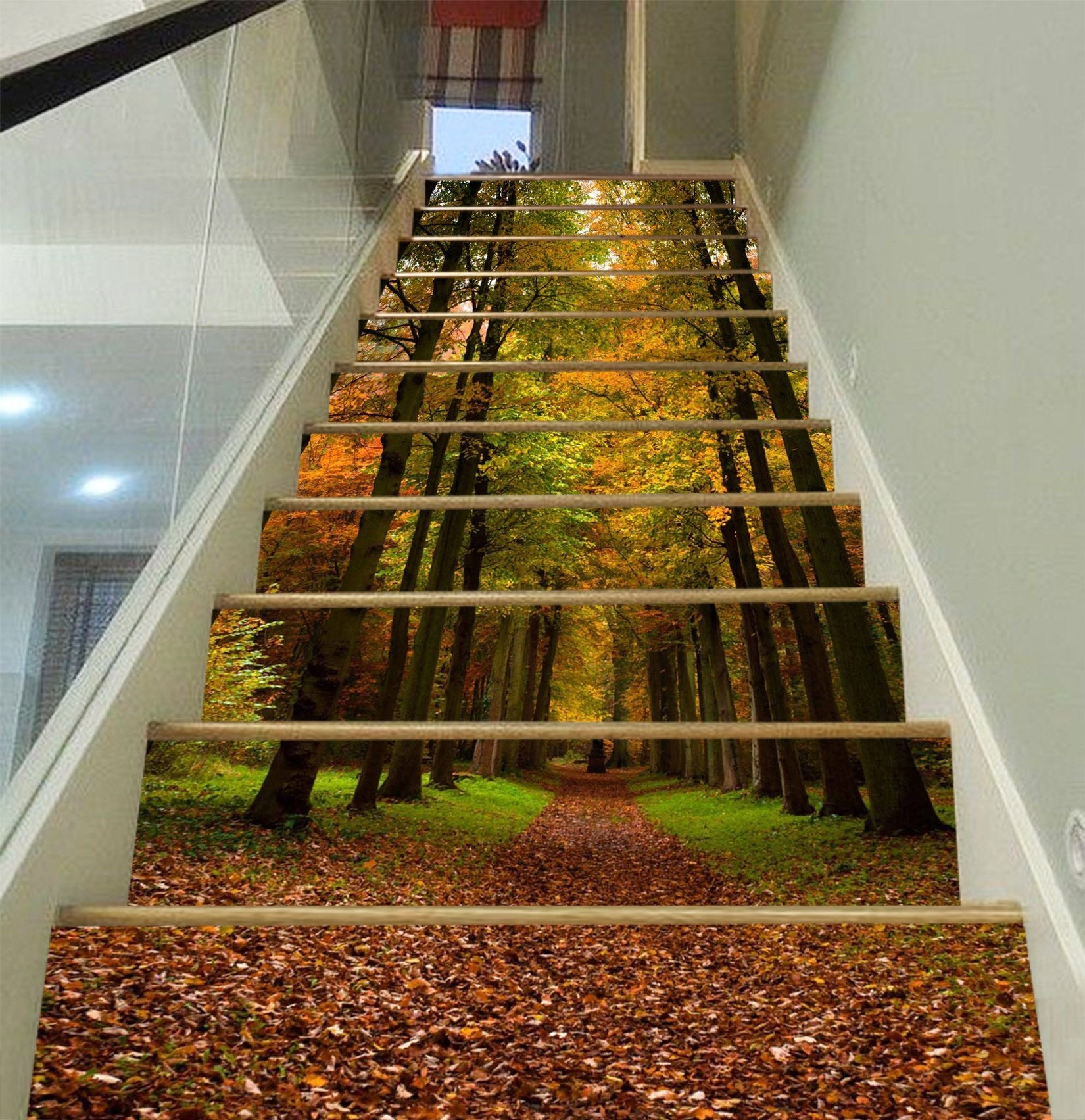 3D Color Forest Fallen Leaves 1553 Stair Risers Wallpaper AJ Wallpaper
