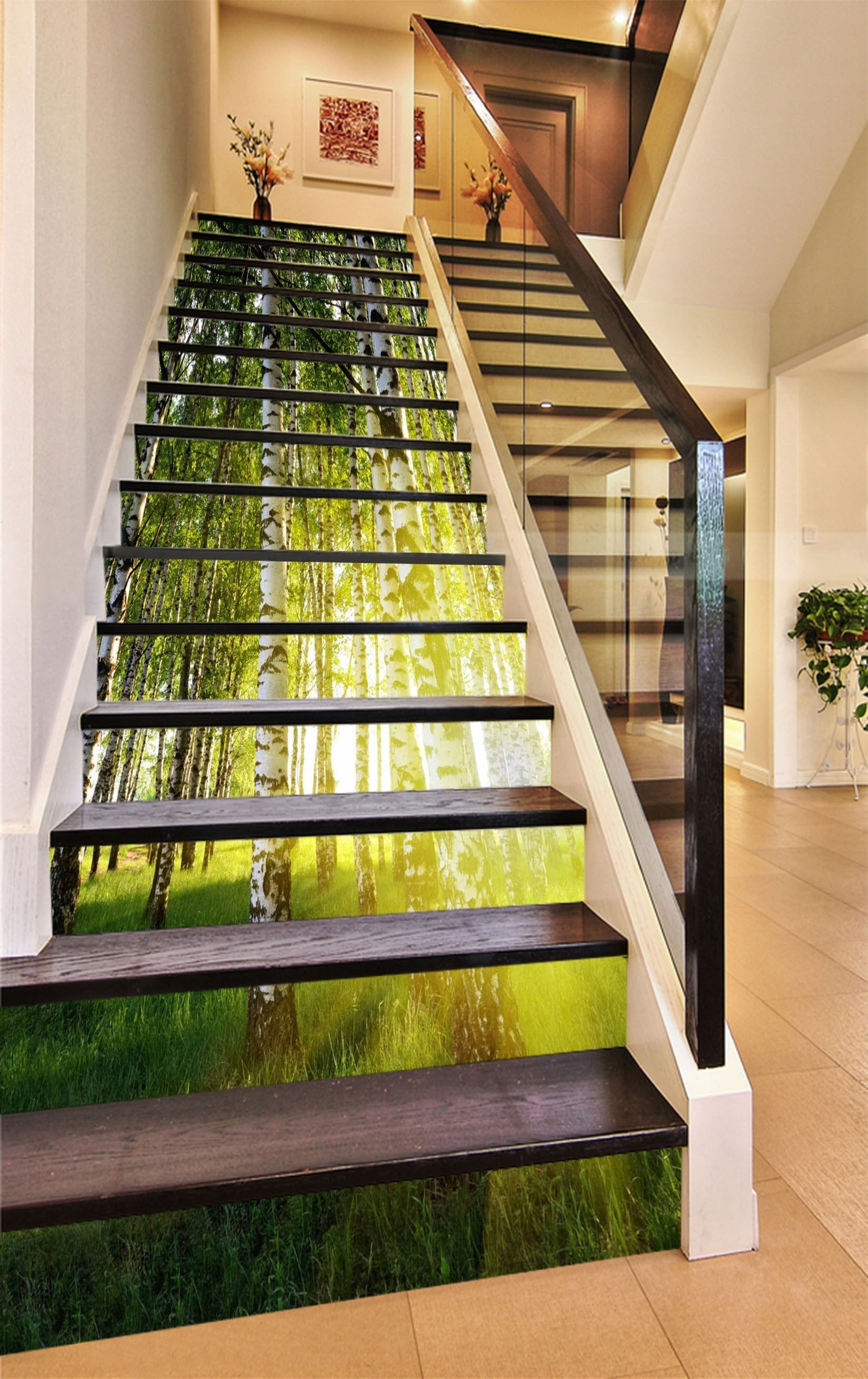 3D Grassland Trees Sunshine 1467 Stair Risers Wallpaper AJ Wallpaper
