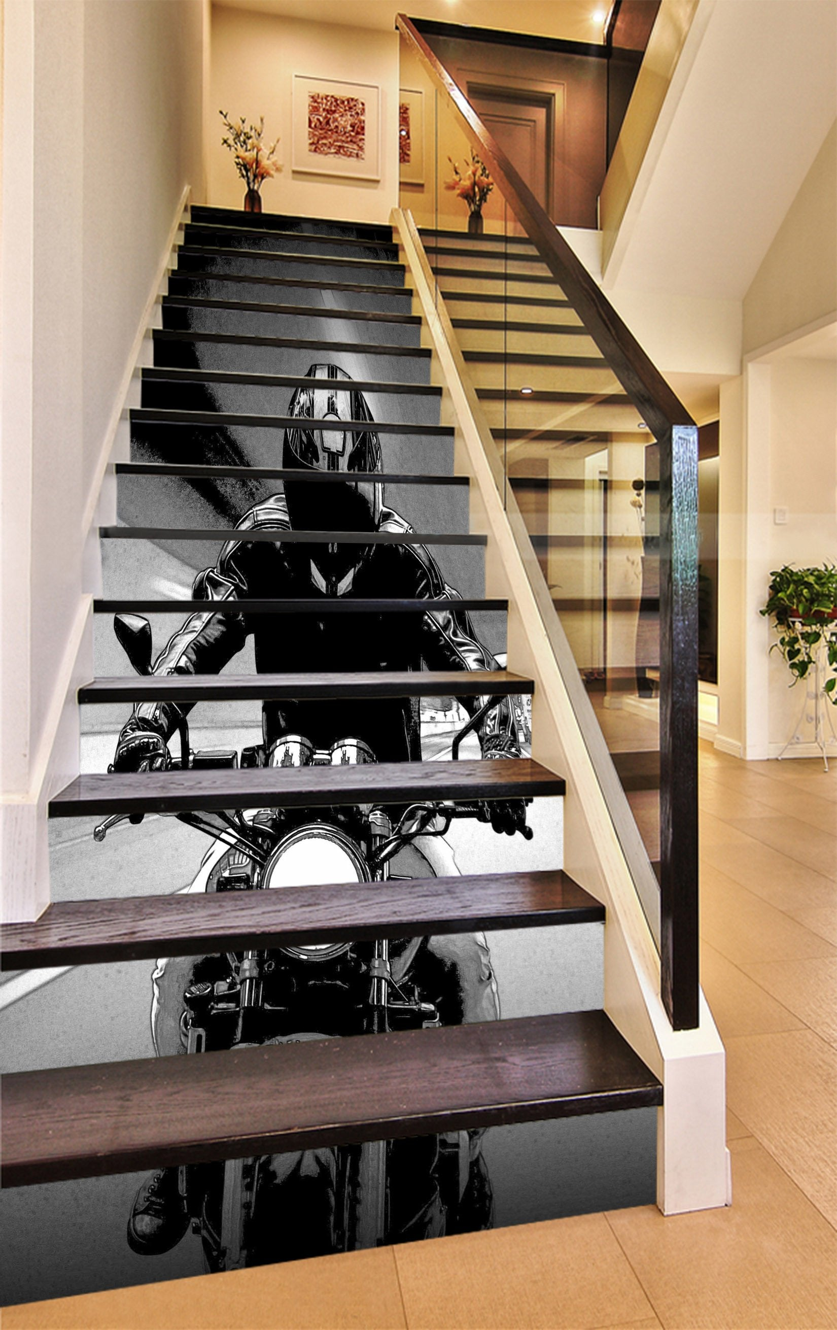 3D Motorcycle Rider 1152 Stair Risers Wallpaper AJ Wallpaper