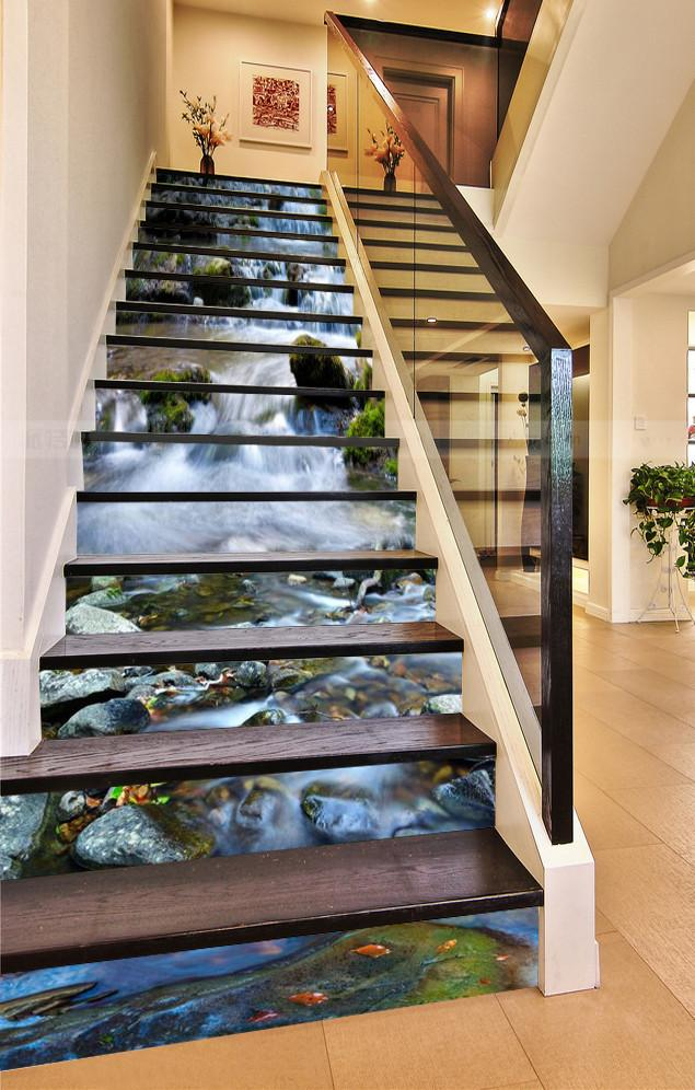 3D Beautiful River Scenery 553 Stair Risers Wallpaper AJ Wallpaper
