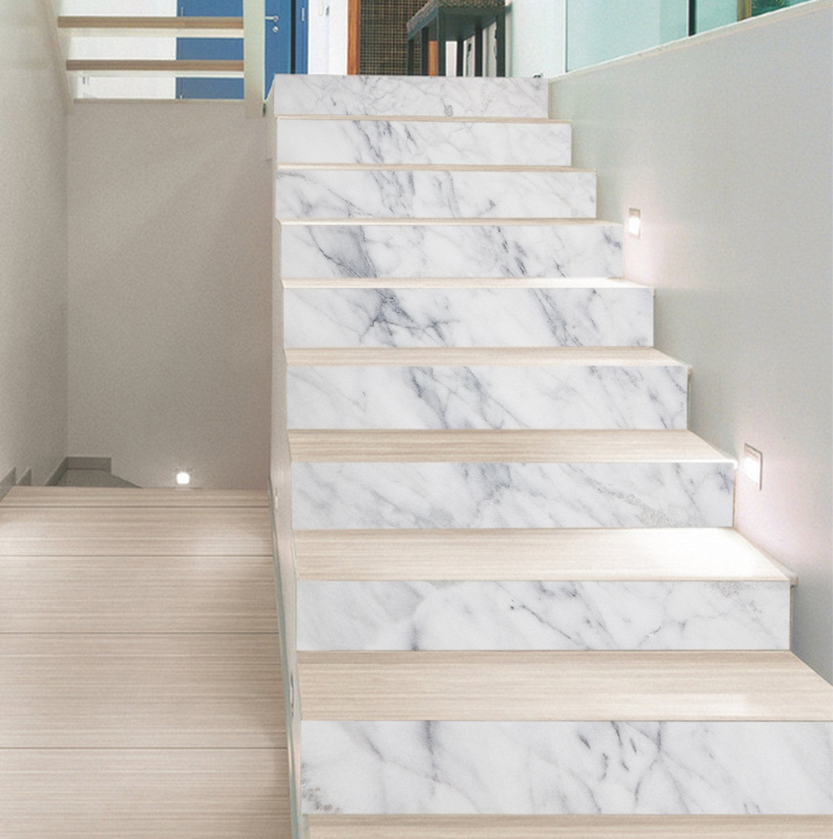 3D Classic White 203 Marble Tile Texture Stair Risers Wallpaper AJ Wallpaper