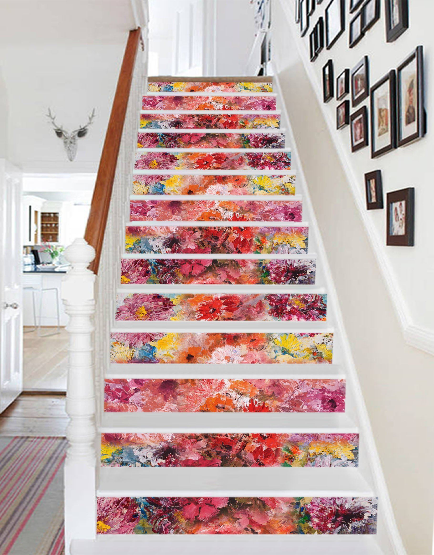 3D Flowers 721 Stair Risers Wallpaper AJ Wallpaper