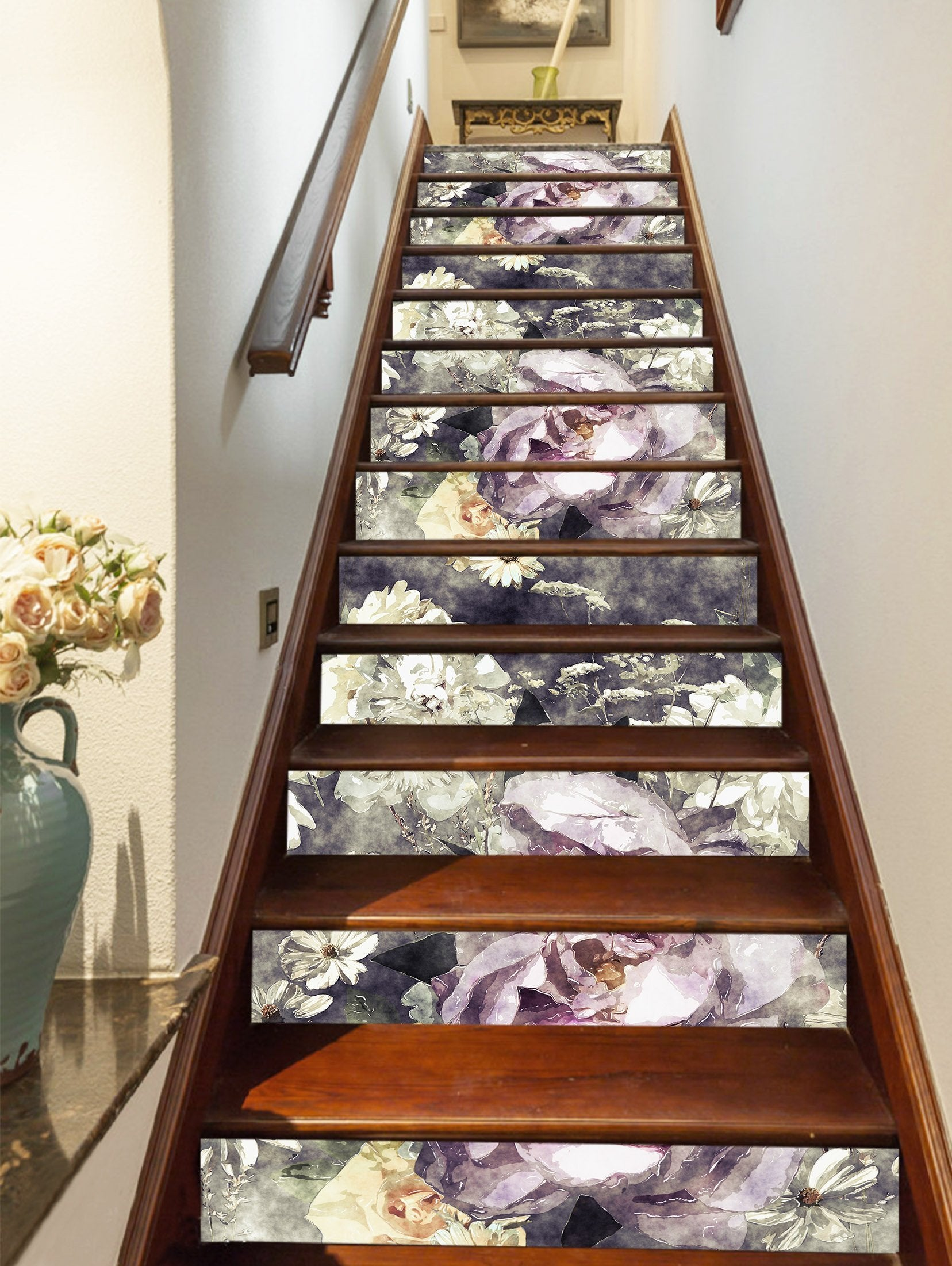 3D Purple Flowers 573 Stair Risers Wallpaper AJ Wallpaper