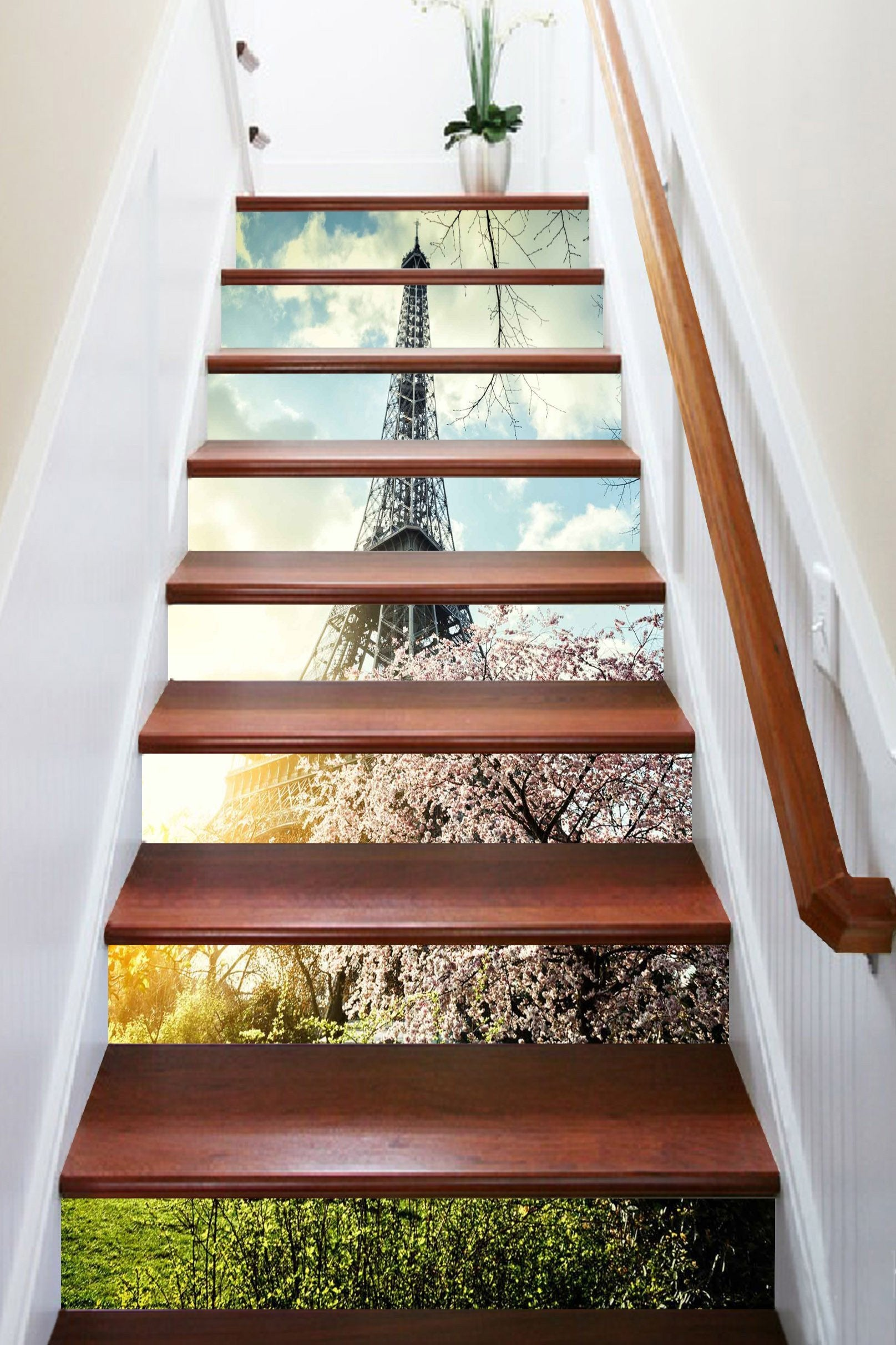 3D Eiffel Tower Flowers 1579 Stair Risers Wallpaper AJ Wallpaper