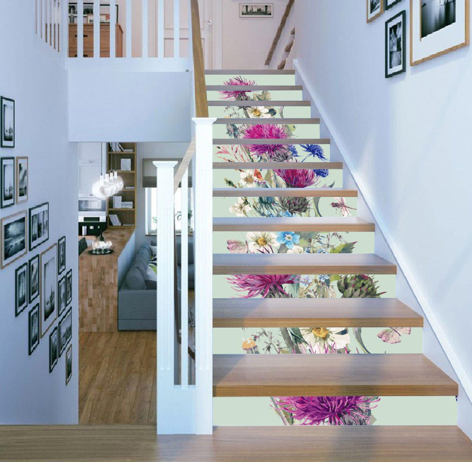 3D Flowers 473 Stair Risers Wallpaper AJ Wallpaper
