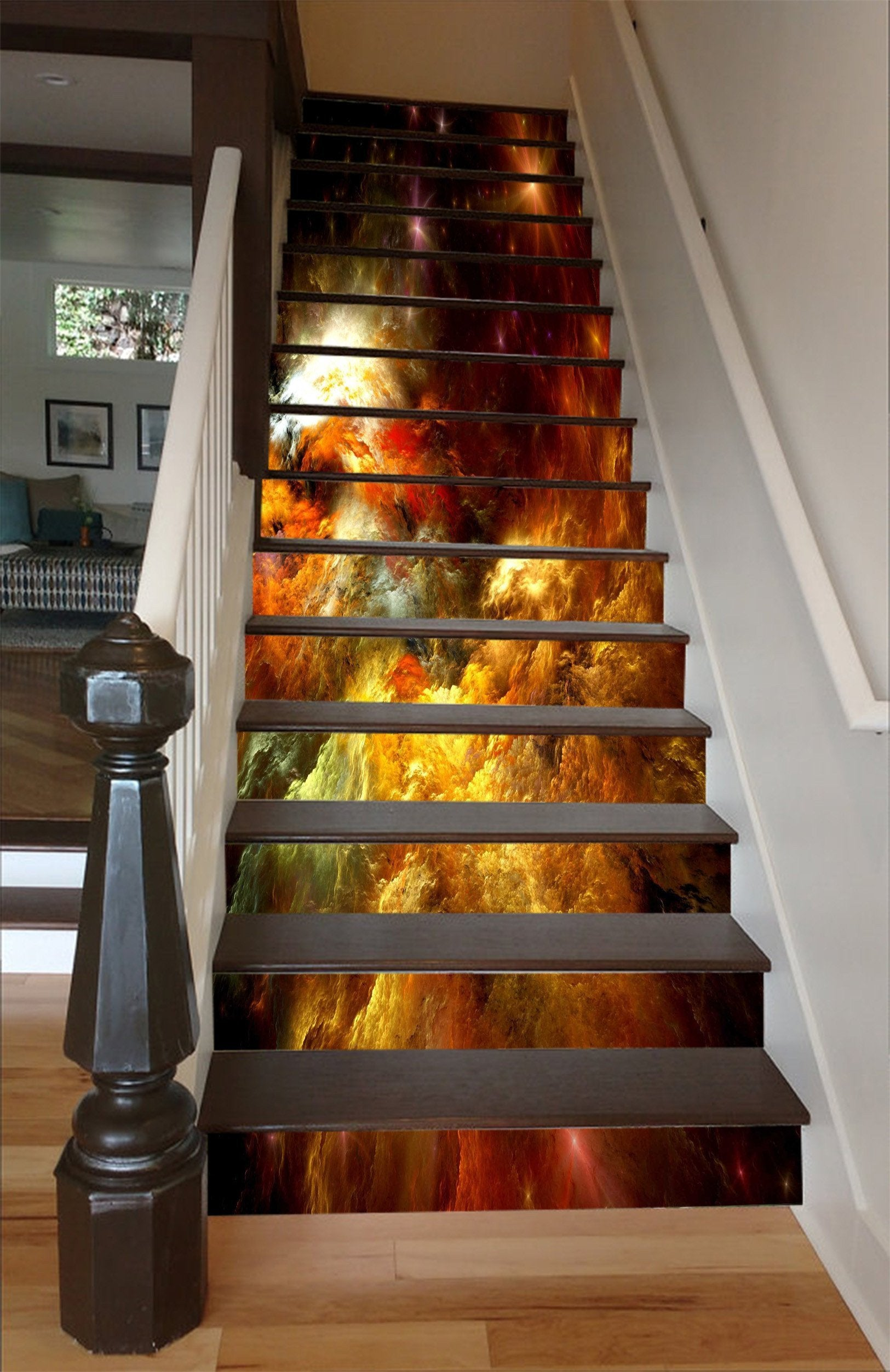 3D Pretty Colorful Clouds 1446 Stair Risers