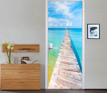 3D transparent brine wooden bridge door mural Wallpaper AJ Wallpaper
