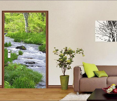 3D green grass river door mural Wallpaper AJ Wallpaper