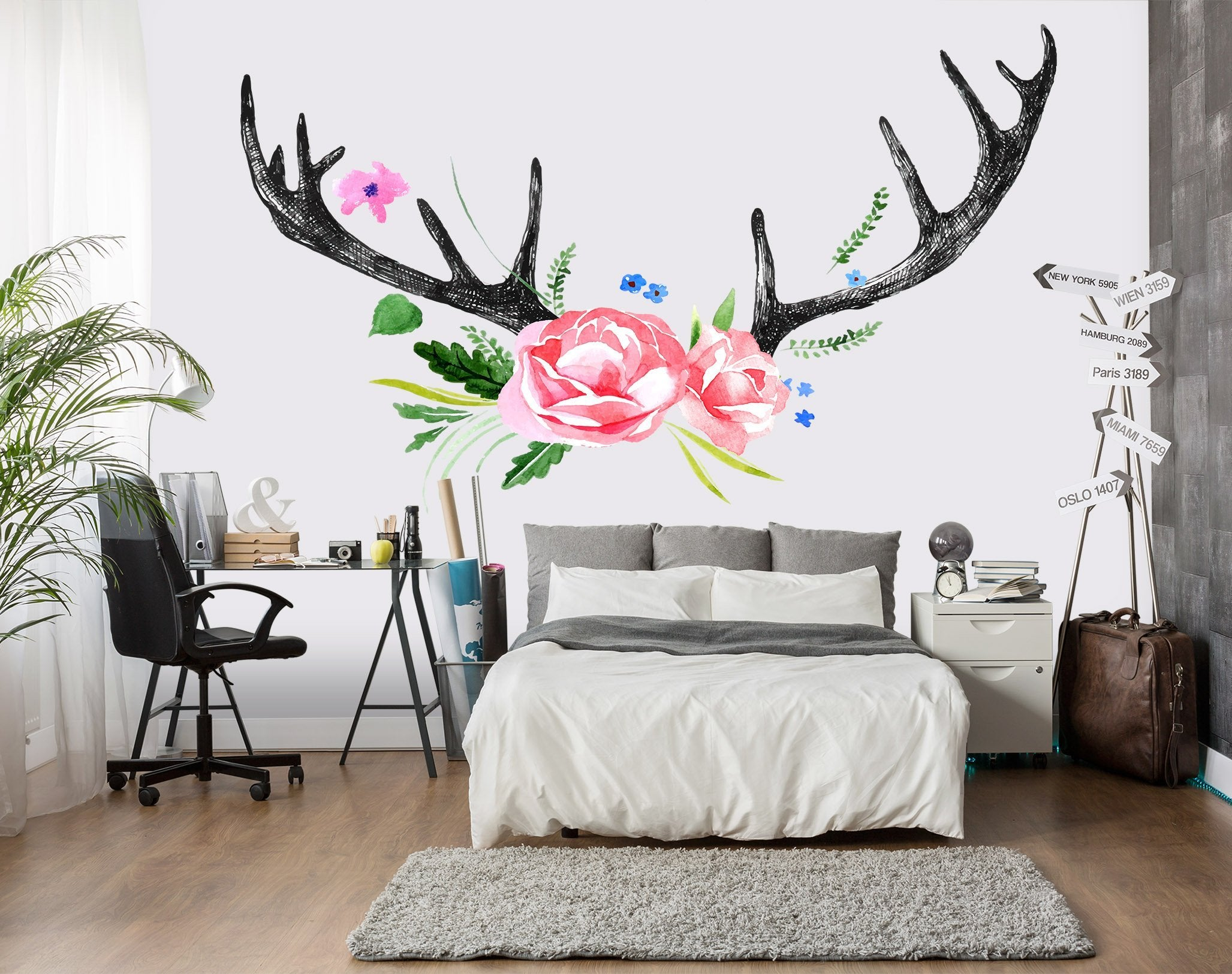 3D Antlers Flowers Wall Stickers Wallpaper AJ Wallpaper