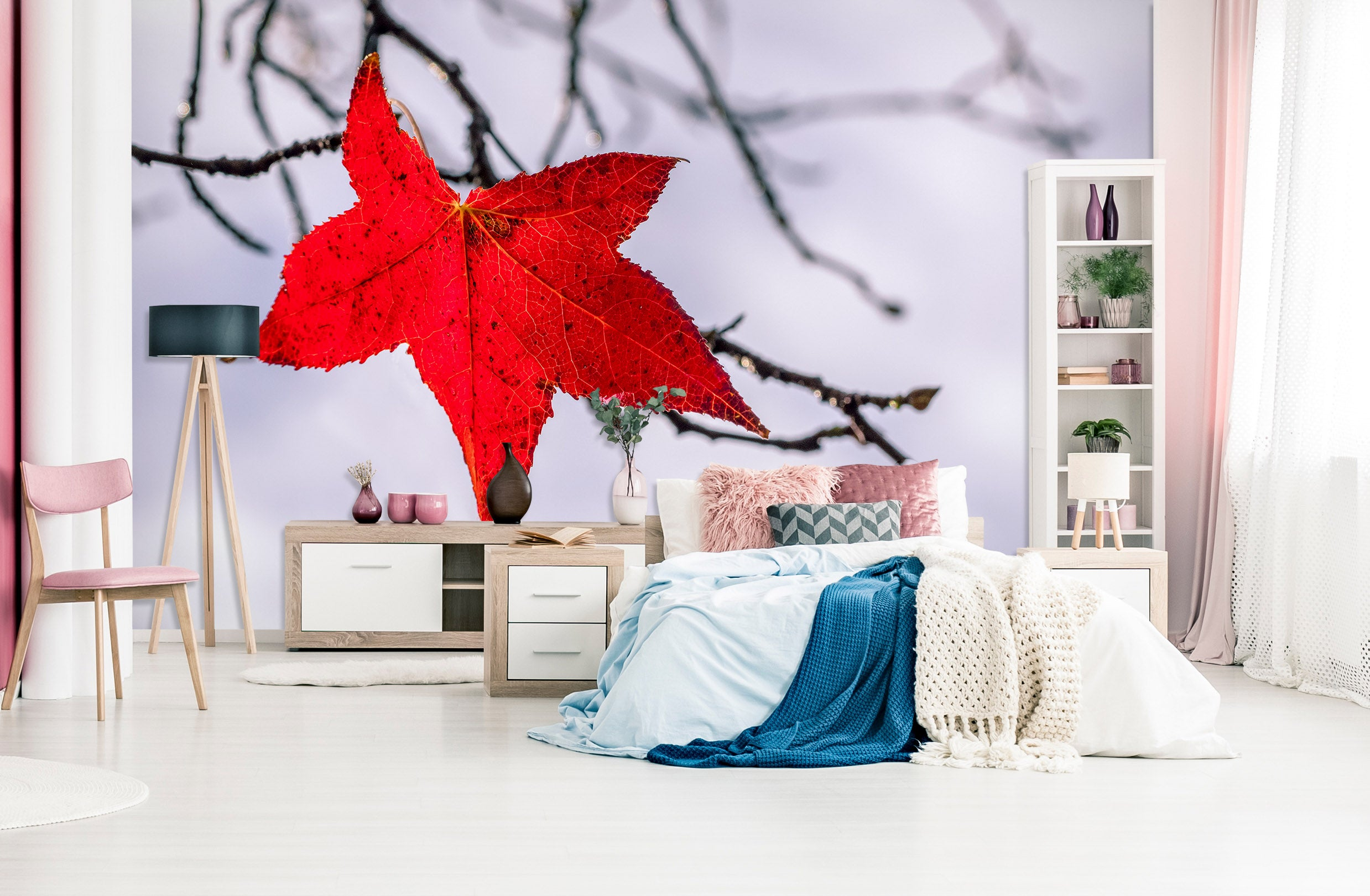 3D Red Leaf 1422 Marco Carmassi Wall Mural Wall Murals