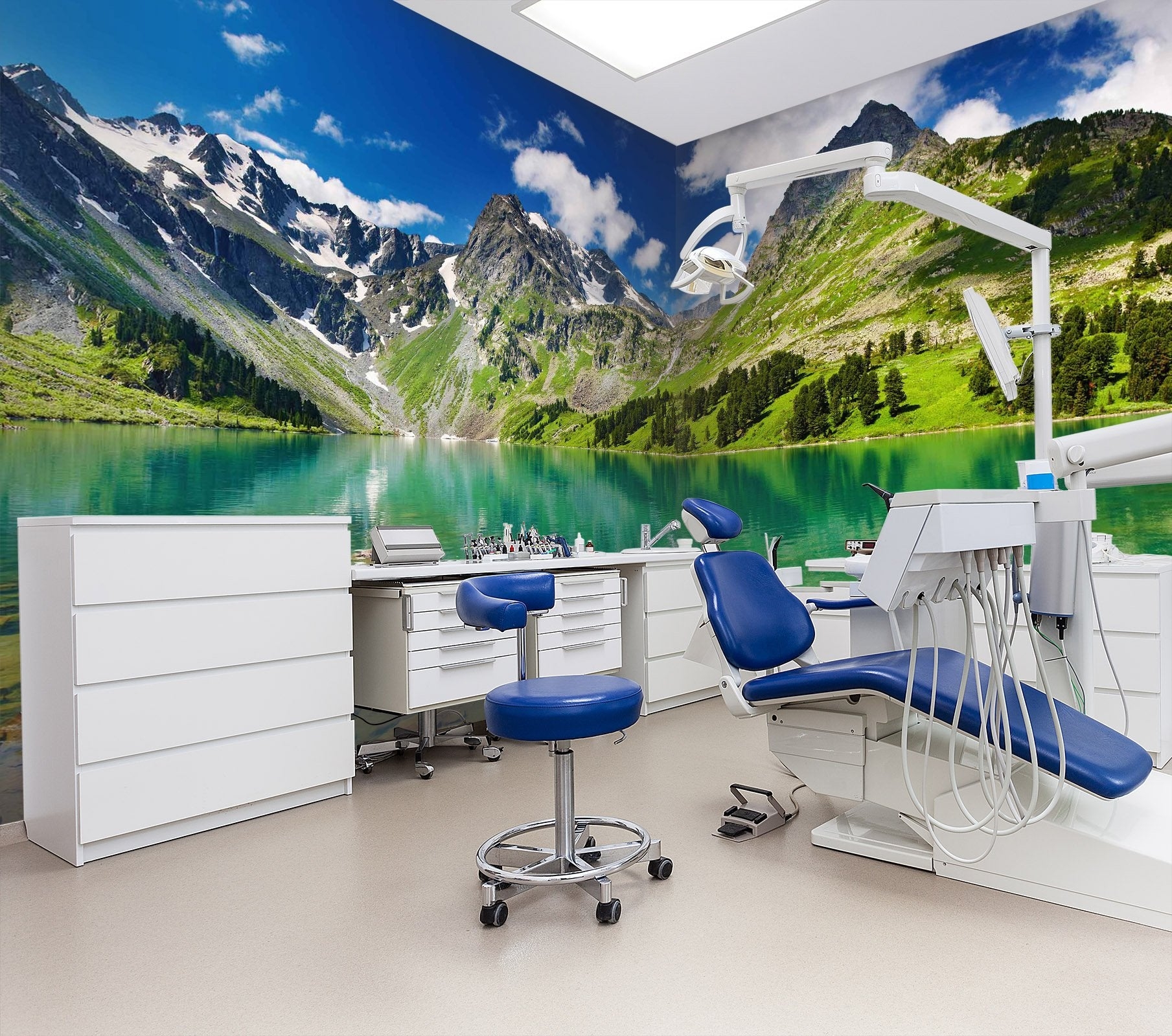 3D Mountains and water 03 Wall Murals