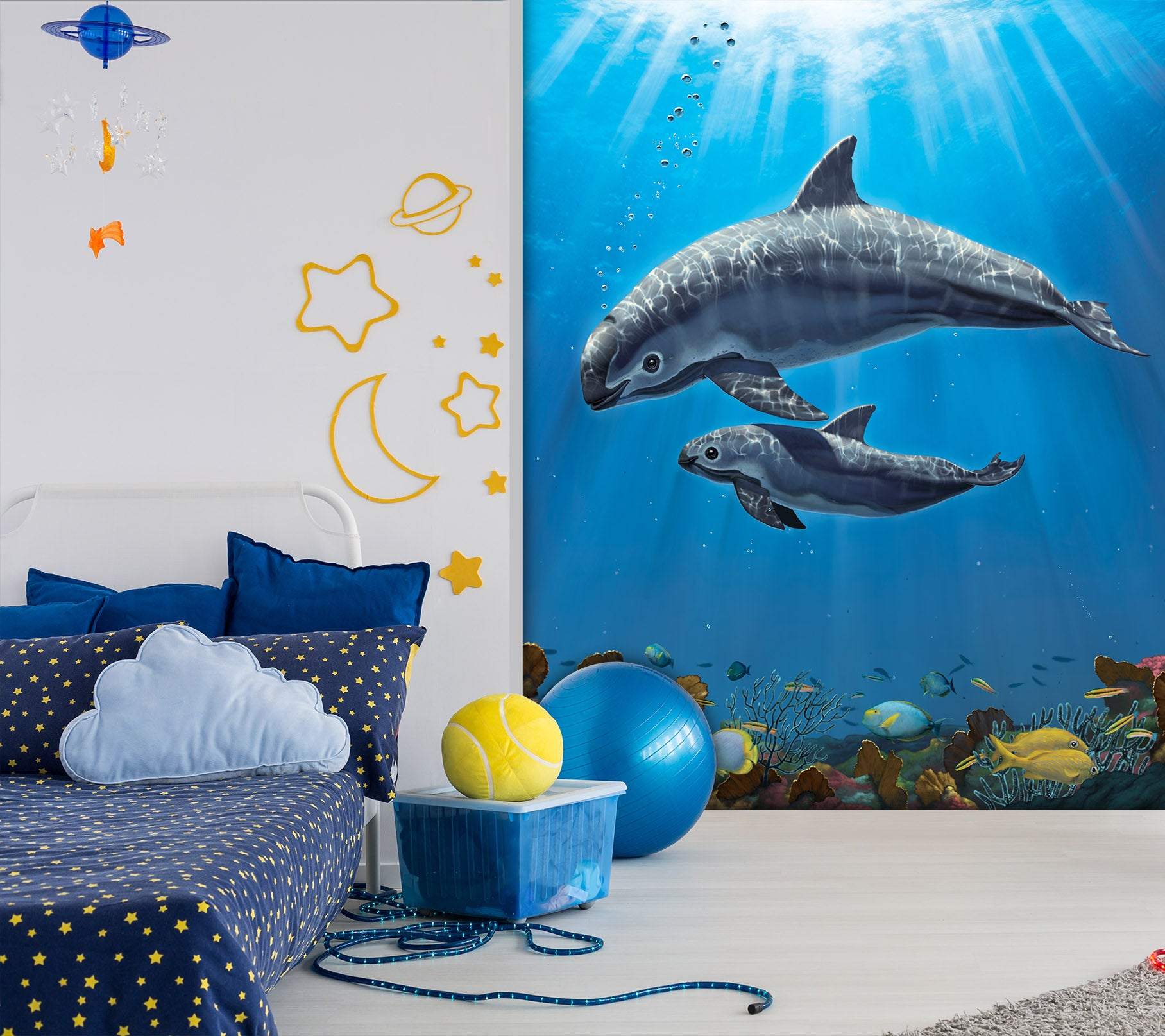 3D Dolphin Swimming 1568 Wall Murals Exclusive Designer Vincent