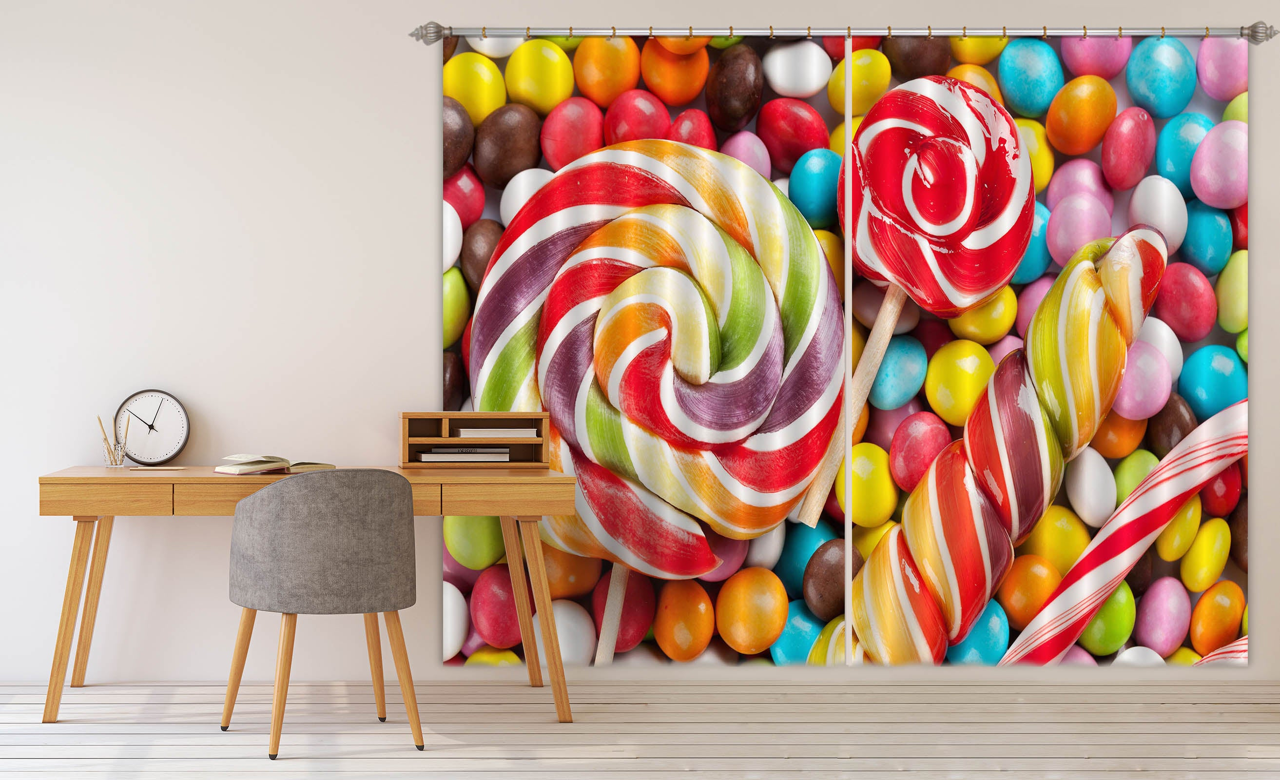 3D Rainbow Lollipop 701 Curtains Drapes