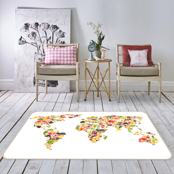 3D Abstract Art 281 World Map Non Slip Rug Mat