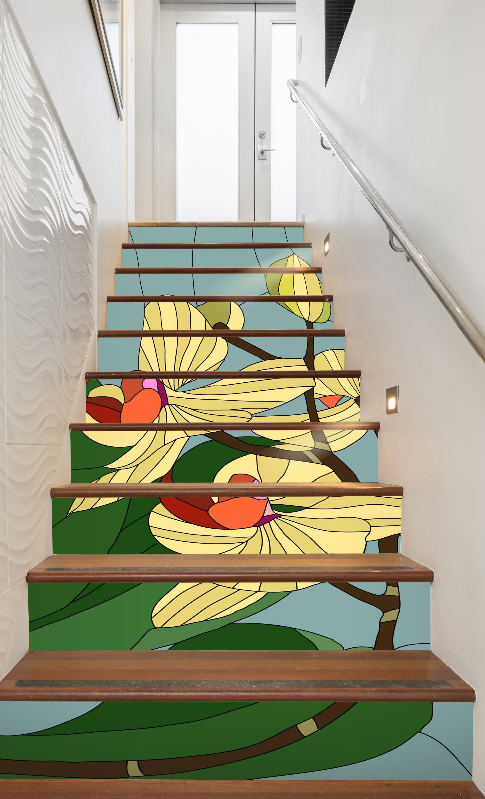 3D Flowers 642 Stair Risers Wallpaper AJ Wallpaper