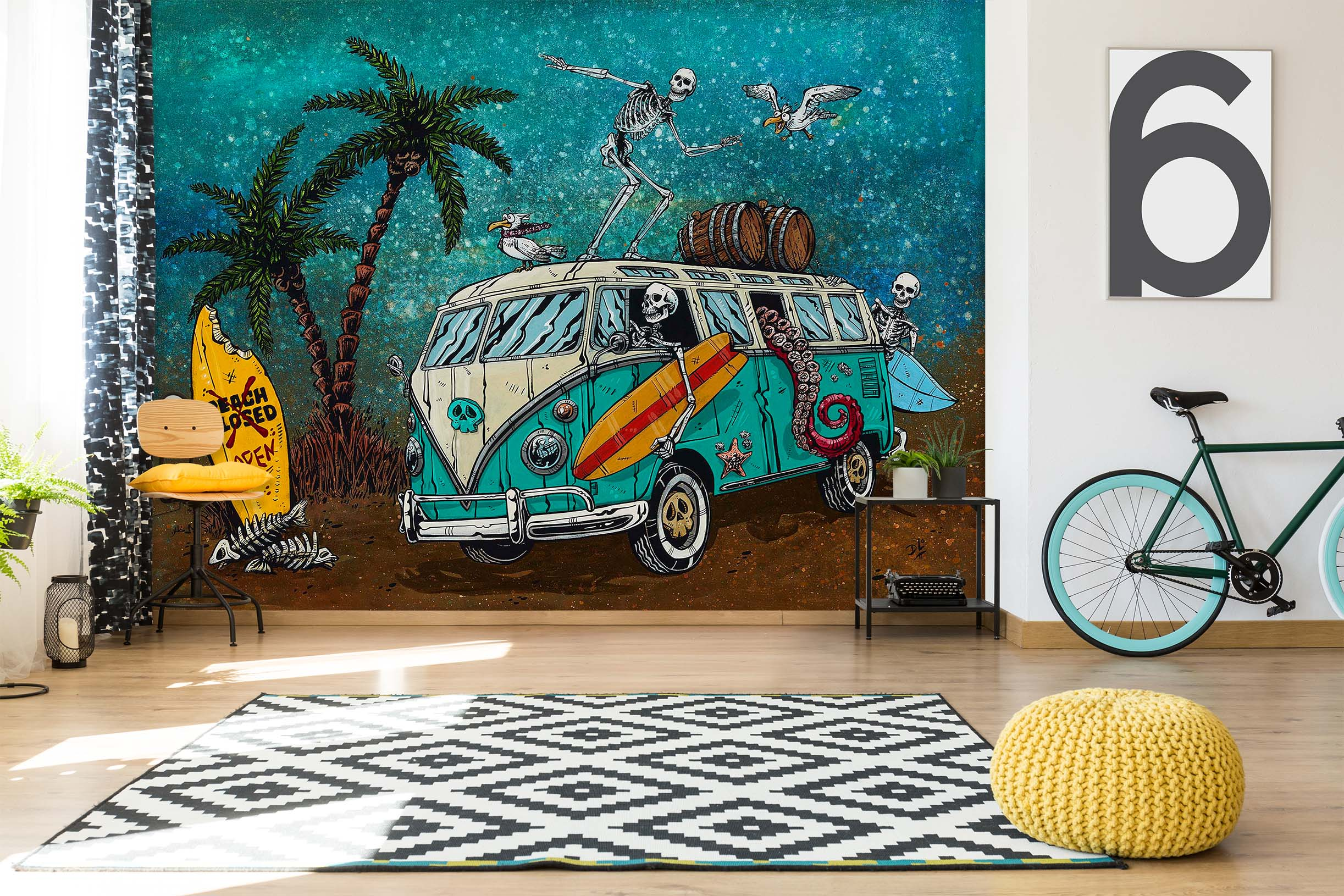 3D Coconut Tree Bus 1399 David Lozeau Wall Mural Wall Murals