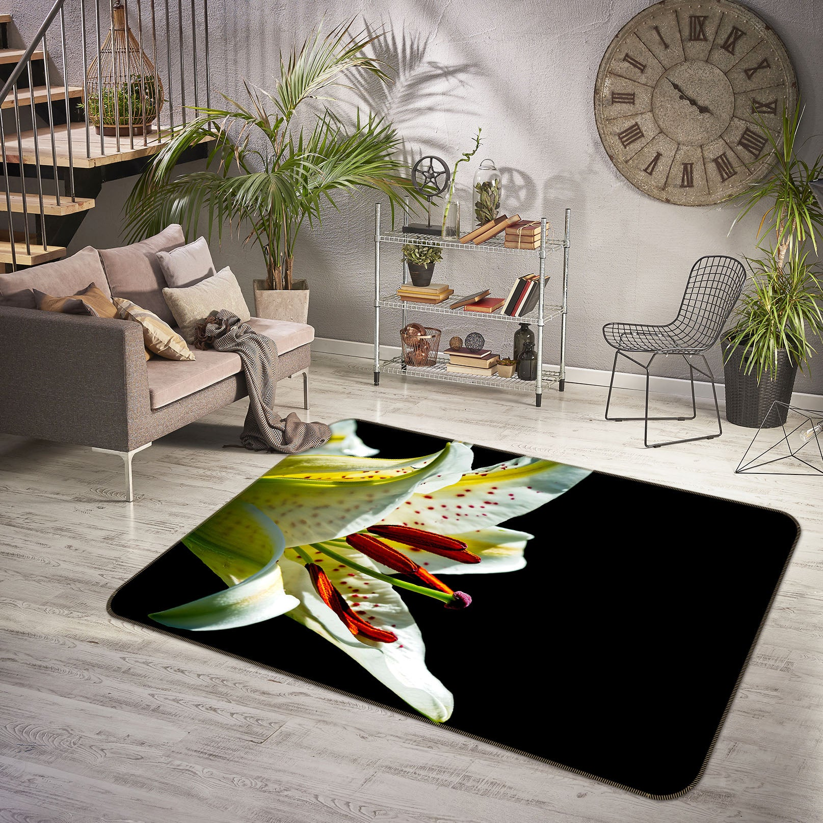 3D Lily Blossoms 1130 Kathy Barefield Rug Non Slip Rug Mat