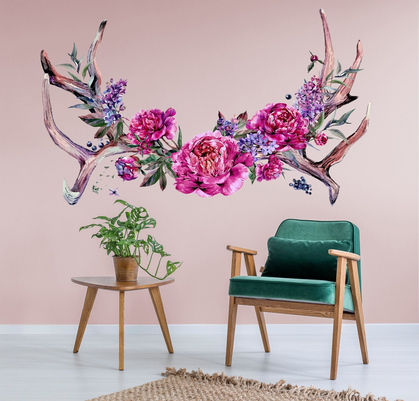 3D Red Flower Corner 026 Wall Stickers Wallpaper AJ Wallpaper