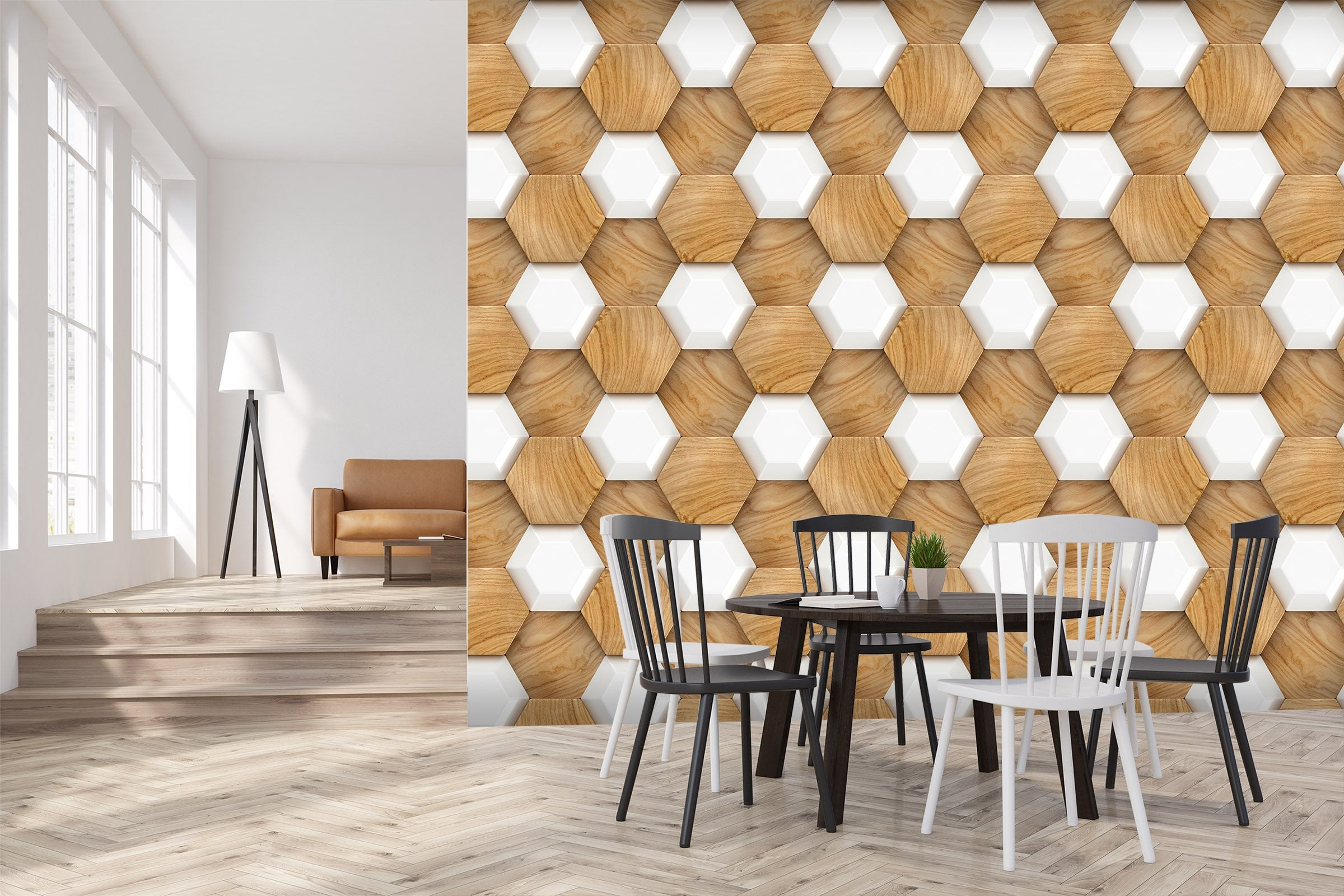 3D Hexagon Wood Grain 60 Wallpaper AJ Wallpaper