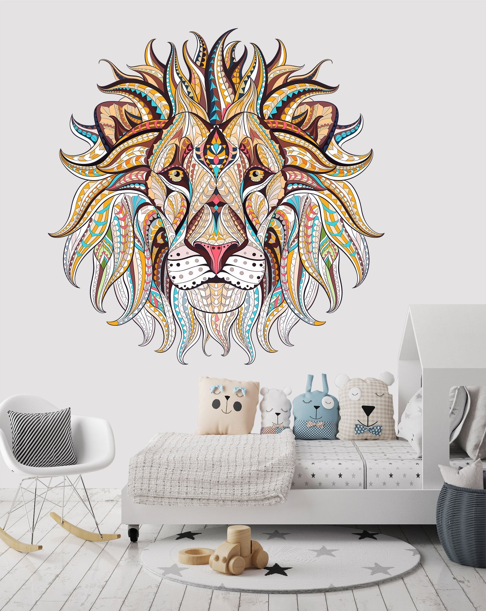 3D Lion Head 052 Wall Stickers Wallpaper AJ Wallpaper
