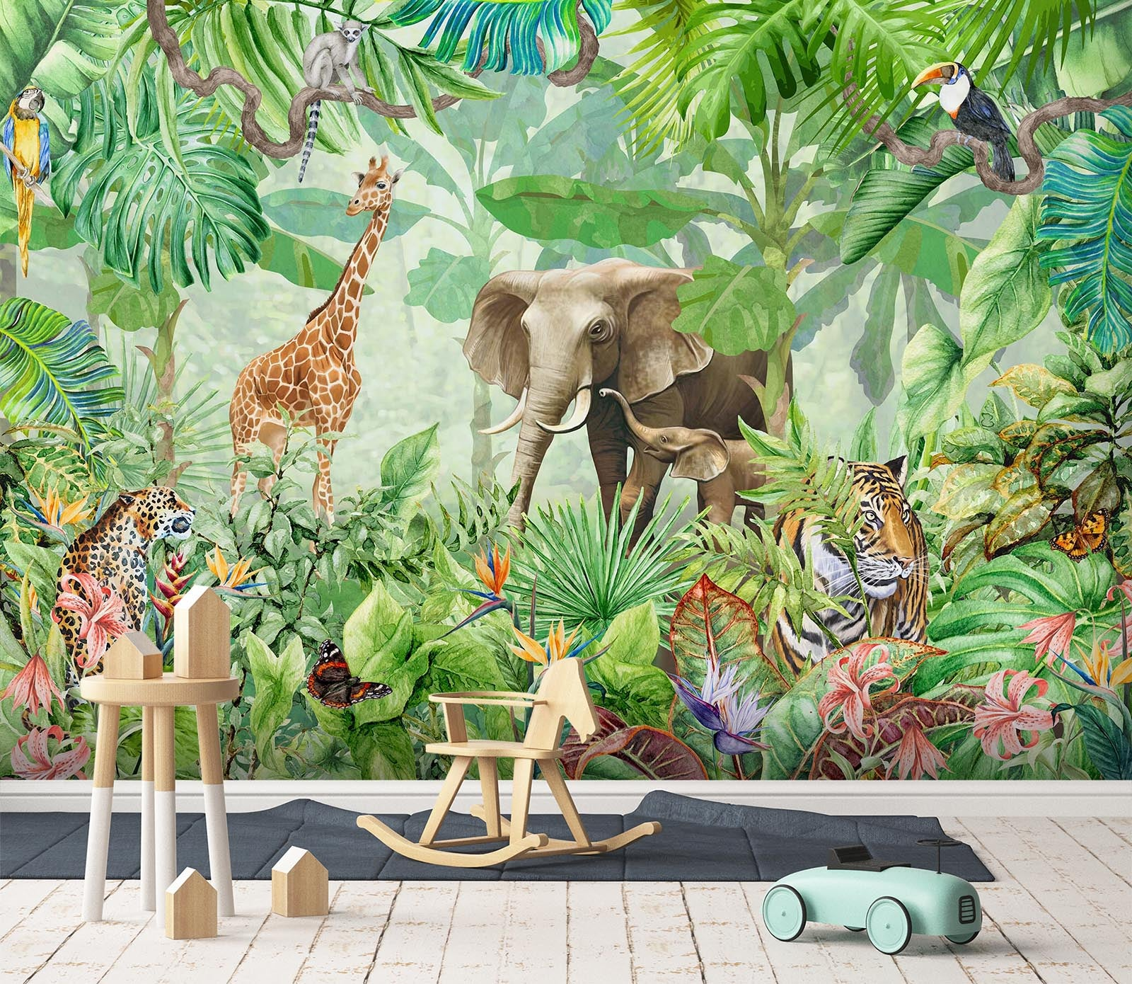 3D Hand Drawn Forest Animals 014 Wall Murals