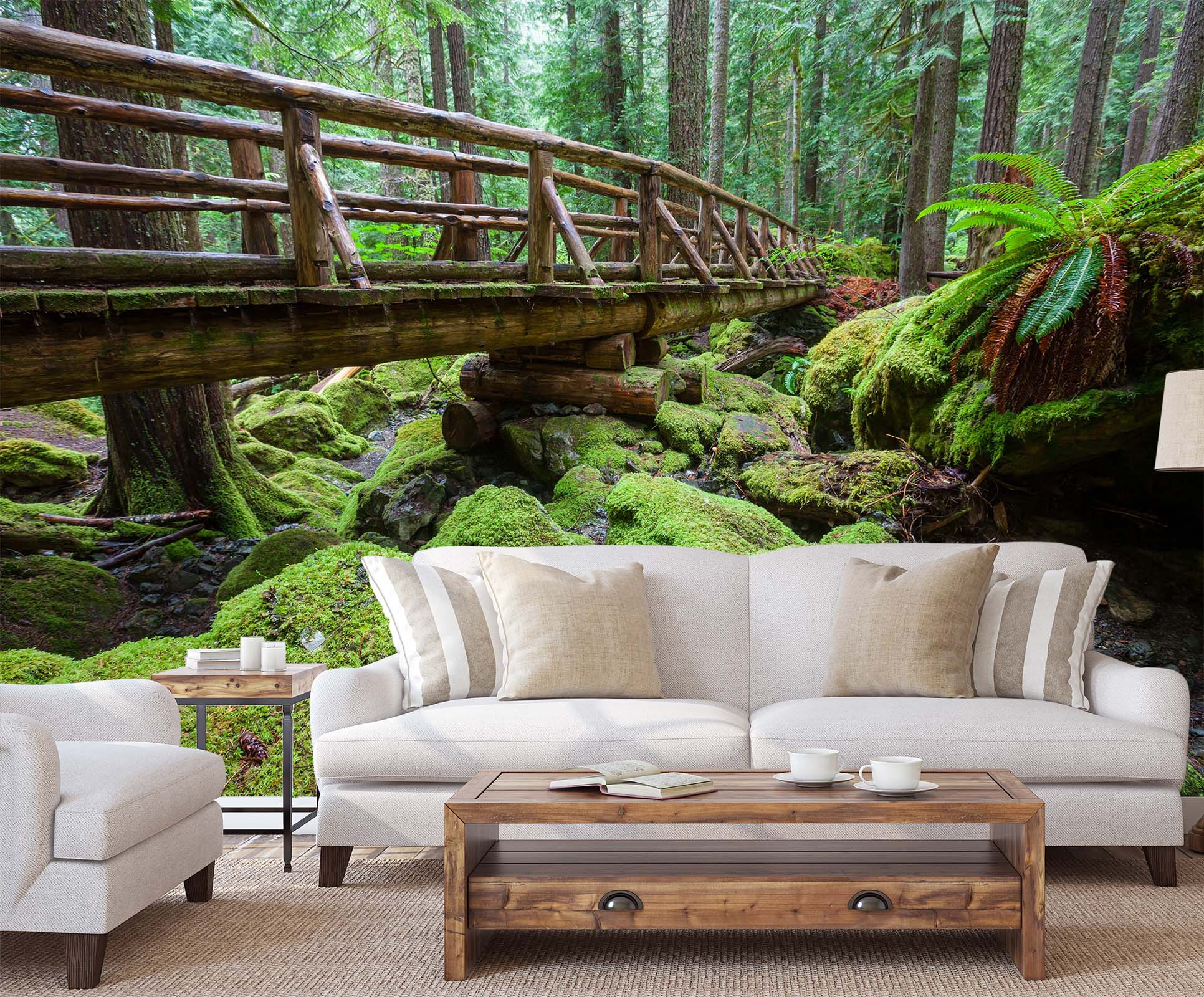 3D Green Wooden Bridge Stone 023 Wall Murals