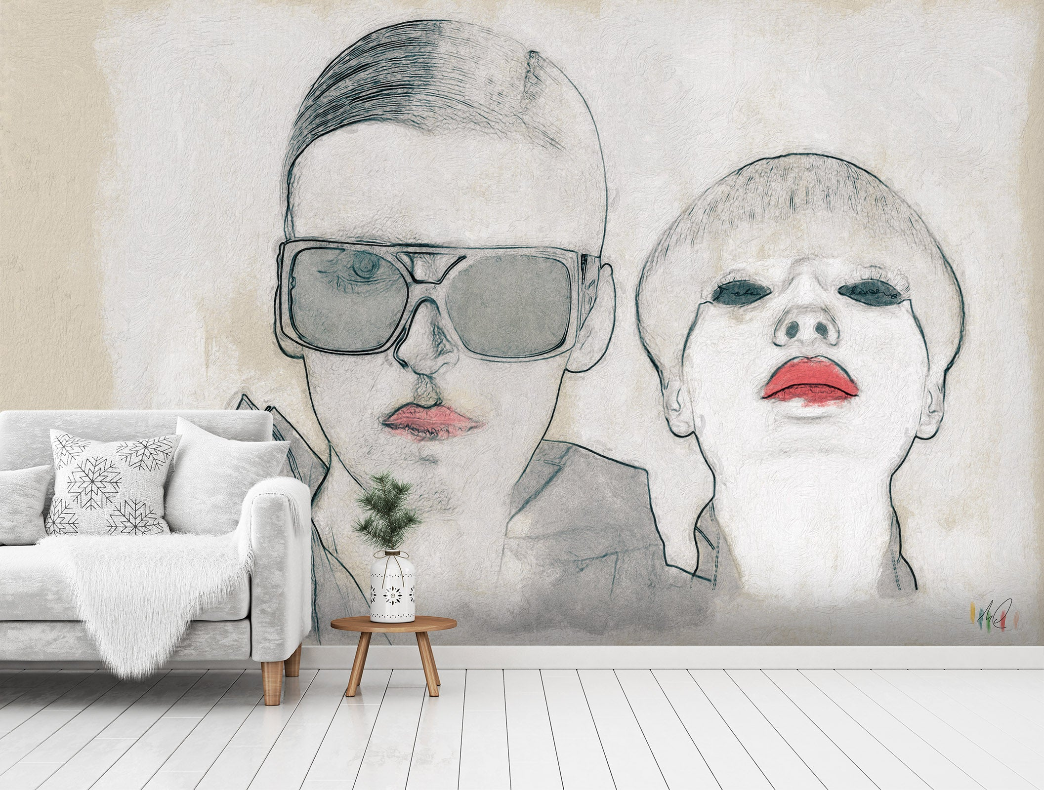 3D Glasses Red Lips 1414 Marco Cavazzana Wall Mural Wall Murals